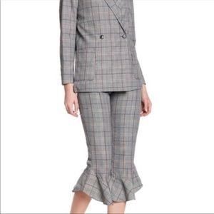 Ro&De plaid pants with a ruffled hem size xs